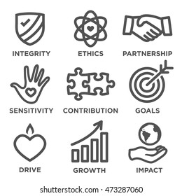 Social Responsibility Thick Outline Icon Set - drive, growth, integrity, sensitivity, contribution, goals
