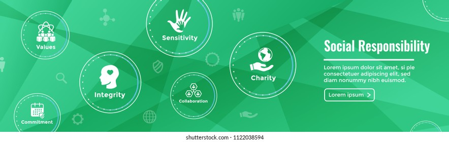 Social Responsibility Web Banner Icon Set and Web Header Banner with Honesty, integrity, collaboration, etc