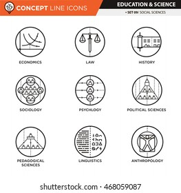Social sciences theme icons used for school and university education and document decoration, vector
