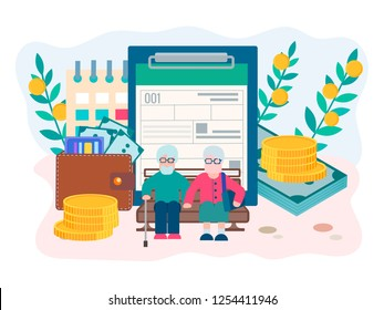 Social Security Benefits Form for pensioners. Pension insurance and Pension Fund concept. Vector illustration.