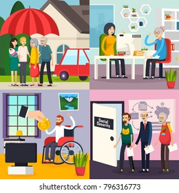 Social security orthogonal design concept with family protection, retirement welfare, disability and unemployment benefits isolated vector illustration