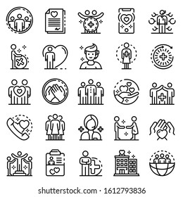 Social service icons set. Outline set of social service vector icons for web design isolated on white background