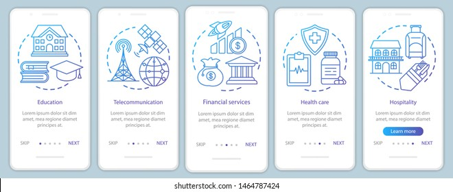 Social services onboarding mobile app page screen vector template. Informational services. Walkthrough website steps with linear illustrations. UX, UI, GUI smartphone interface concept