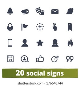 Social signs: vector icons set for network, community sites, application, user interface