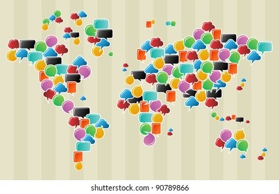 Social speech bubbles in different colors and forms in globe world map illustration. Vector file available.