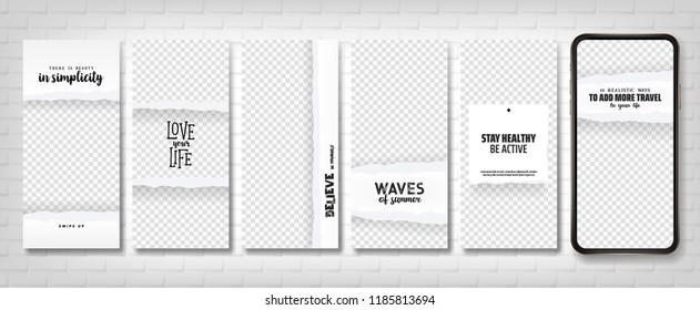 Social stories template. Editable torn paper design. Lifestyle concept.