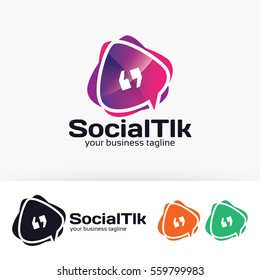 Social Talk, app, forum, social media. Vector logo template