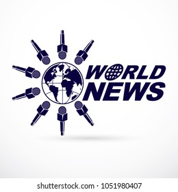 Social telecommunication theme vector logo created with Earth planet illustration surrounded with microphones and composed using world news inscription. Press conference concept.