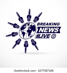 Social telecommunication theme vector logo created with Earth planet illustration surrounded with microphones and with breaking news inscription. Press conference concept.
