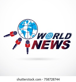 Social telecommunication theme vector logo created with blue Earth planet illustration surrounded with microphones and composed using world news inscription.