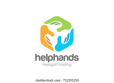 Social Three Hands Hexagon abstract Logo design vector template. Help Assistant Support Teamwork Charity Donation Fund Logotype concept icon.