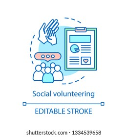 Social volunteering concept icon. Civil altruistic activity. Corporate philanthropy idea thin line illustration. Vector isolated outline drawing. Editable stroke