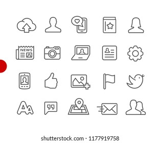 Social Web Icons // Red Point Series - Vector line icons for your digital or print projects