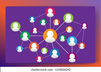 Social Web marketing relationship diagram. People silhouettes conected to each other over white background.