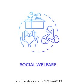Social welfare concept icon. Charity idea thin line illustration. Nonprofit organization. Community service. Food donation. Humanitarian aid. Vector isolated outline RGB color drawing