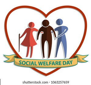 Social Welfare Day, vector flat symbol sign with old man and woman supporting the elderly on heart background