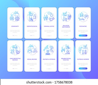 Social worker onboarding mobile app page screen set with concepts. Public worker. Welfare organisation walkthrough 5 steps graphic instructions. UI vector template with RGB color illustrations