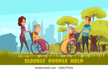 Social workers nursery home volunteers taking elderly disables people in wheelchairs outdoor flat cartoon poster vector illustration