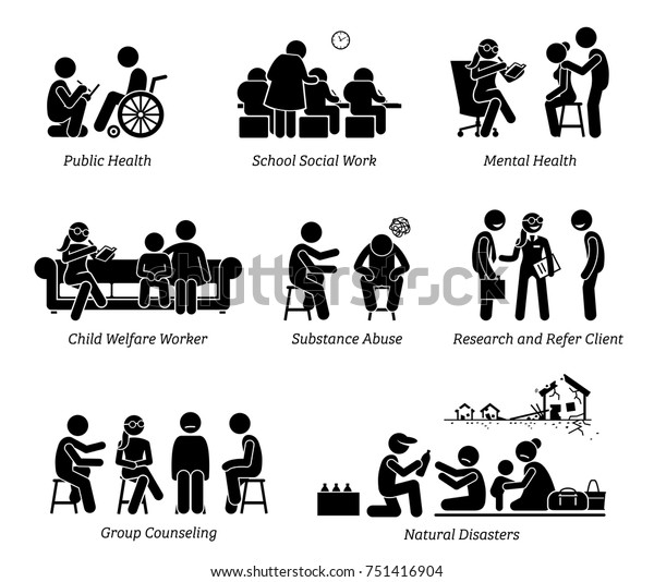 Social Workers Stick Figure Pictogram Icons Stock Vector