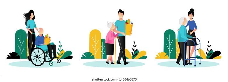 Sozialarbeiter kümmern sich um Senioren. Vektorflache Cartoon-Illustration. Freiwillige junge Menschen helfen älteren Menschen zu Fuß, fahren Rollstuhl und shoppen.