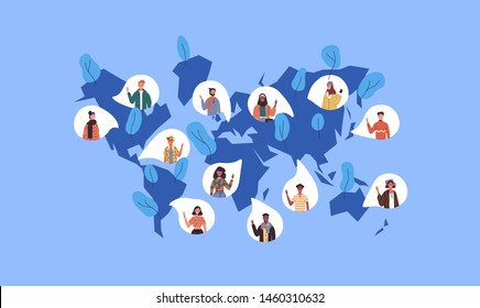 Social world map illustration with diverse international people icons from worldwide cultures. Multi ethnic women and men crowd for global communication or chat network concept. - Shutterstock ID 1460310632