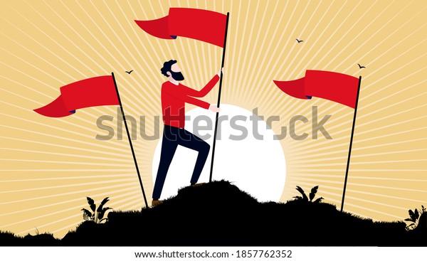 Der Sozialismus, der die Flagge erhebt - der Sozialist, der eine rote Flagge auf einem Hügel mit Sonnenaufgang im Hintergrund hält. Propaganda-Stil, Vektorgrafik.