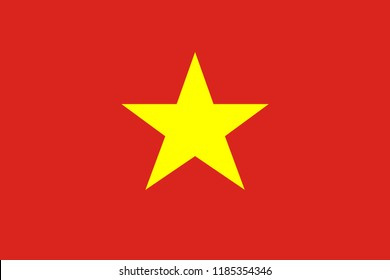 Socialist Republic of Vietnam flag. Official colors. Correct proportion. Vector illustration