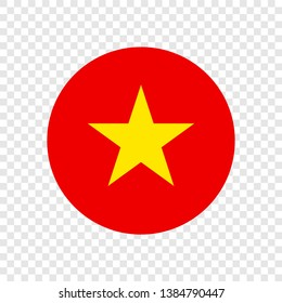 Socialist Republic of Vietnam official national flag sign icon round flat vector