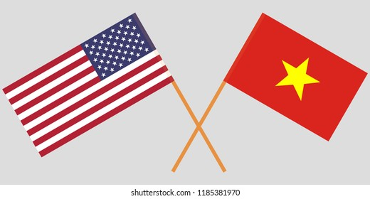 Socialist Republic of Vietnam and USA. The Vietnamese and American flags. Official colors. Correct proportion. Vector illustration