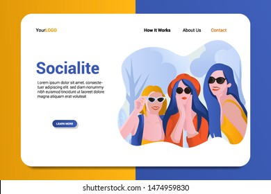 socialite landing page background vector