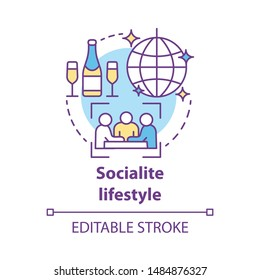 Socialite lifestyle concept icon. Fashionable social gathering attending idea thin line illustration. Luxury living. Rich people entertainment. Vector isolated outline drawing. Editable stroke