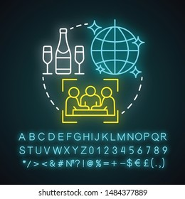Socialite lifestyle neon light concept icon. Fashionable social gathering attending idea. Luxury living, entertainment. Glowing sign with alphabet, numbers and symbols. Vector isolated illustration