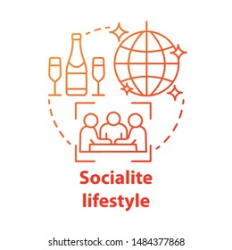 Socialite lifestyle red concept icon. Fashionable social gathering attending idea thin line illustration. Luxury living. Rich people entertainment. Vector isolated outline drawing. Editable stroke