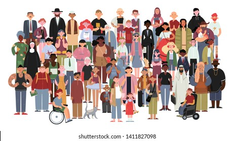 Socially diverse multicultural and multiracial people on an isolated white background. Happy old and young women and men with children, as well as people with disabilities standing together.