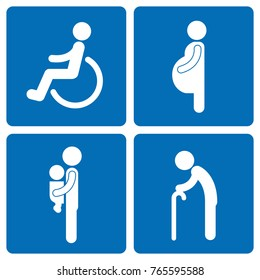 Socially vulnerable pictogram set.