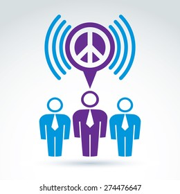 Society business and organization talking about the peace, vector conceptual stylish symbol for your design.