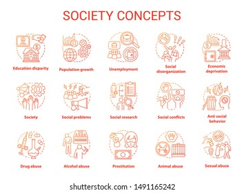 Society concept icons set. Social issues, behavioral problems idea thin line illustration. Violence and abuse, unemployment, crimes. Social conflicts. Vector isolated outline drawing. Editable stroke