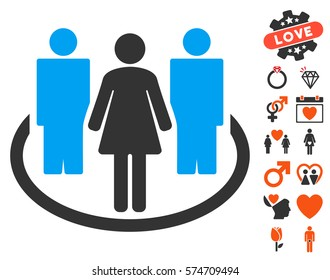 Society icon with bonus decoration pictograms. Vector illustration style is flat iconic symbols for web design, app user interfaces.