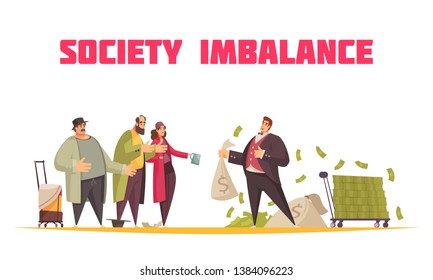 Society imbalance flat cartoon horizontal composition with rich man holding sack dollars and poor beggars vector illustration
