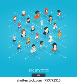 Society integrated 3d web icons. Digital network isometric interact concept. Connected graphic design dot and line system. Abstract background for social media, people communication. Vector Infograph