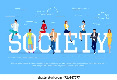 Society. Modern people in a flat style use pc tablets and smartphones. Social concept with young people in different poses. Vector illustration.