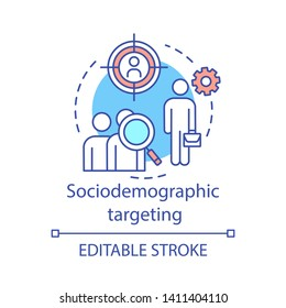 Sociodemographic targeting concept icon. Audience segmentation idea thin line illustration. Digital marketing strategy. Demographic data analysis vector isolated outline drawing. Editable stroke