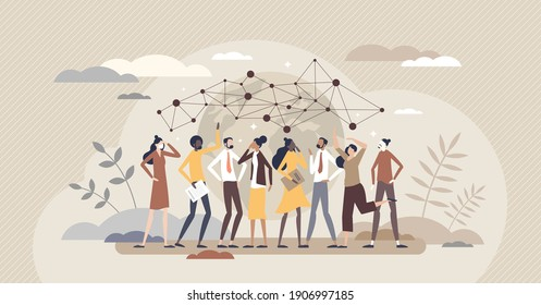 Sociology as human behavior study or society cognition tiny person concept. Educational theoretical knowledge about community crowd and individuals culture, interaction or patterns vector illustration