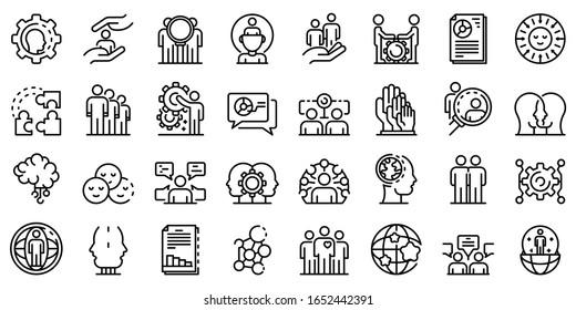 Symbole der Soziologie setzen. Rahmenset für soziologische Vektorsymbole für Webdesign einzeln auf weißem Hintergrund