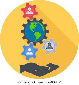 Sociology Round Flat Icon. Vector Illustration