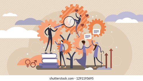 Sociology vector illustration. Flat tiny research ethnical persons concept. Community globalization and science about people group diversity, culture, race and traditions to understand and accept.