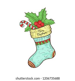 Sock. Lollipop, holly. Christmas, New Year. Sketch. Color