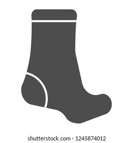 Sock solid icon. Textile clothing vector illustration isolated on white. Hosiery glyph style design, designed for web and app. Eps 10