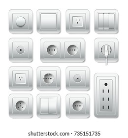 Socket electirc outlet, light switch and cable inlet vector 3D icons