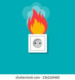 Socket in fire. Electric circuit broken. Vector illustration flat design. Isolated on background. Overload electrical connection. Flame plug.